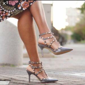 Gray Rockstud Heels